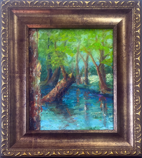 Blue Hole 2 Oil. $150 8x10 @2016 Jefferis Peterson