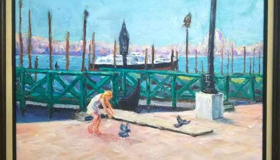 Girl Chasing Pigeons in Venice