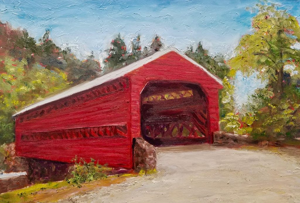 The Covered Bridge, Gettysburg PA - Oil, 16x20, $450