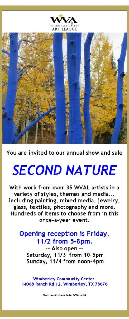 Second Nature Show and Sale Nov 2-4, 2018 Wimberley, TX
