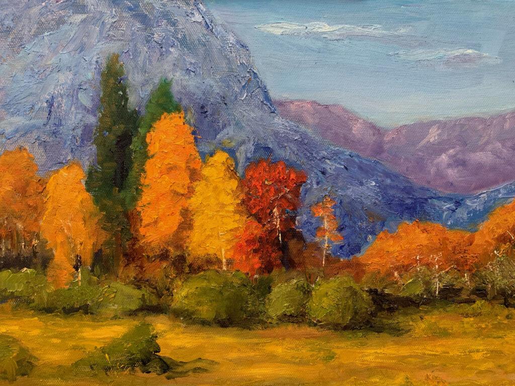 Autumn Mt Trees, Tetons Oil, 11x14 - $350