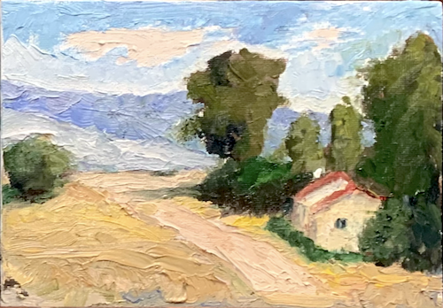 Road to the Mountains 5x7, oil