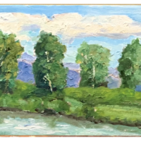 Trees by River 5x7 oil